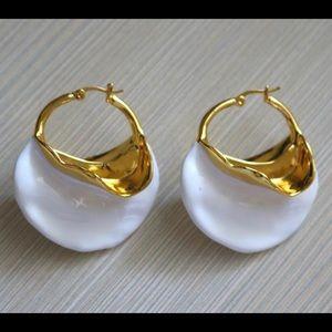 Celine Massive brass GP white large earrings